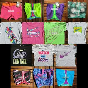 NIKE GIRLS SIZE 4 ~ HUGE LOT SUMMER CLOTHES ~ 14pc ~ RUNNING SHORTS ~ TOPS $302