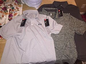 Under Armour Red Gray Loose Heat Gear Polo Golf Collared Shirt Medium Lot Of 3