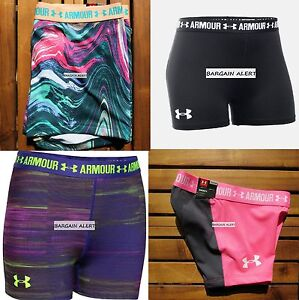 UNDER ARMOUR GIRLS FITTED SHORTS ~ MEDIUM ~ SHORTY SHORTS X 4 ~ NWT PINK BLUE