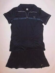 NIKE SHIRT AND SKIRT SET NAVY BLUE FIT DRY BUILT IN SHORTS TENNIS GOLF GYM XLL