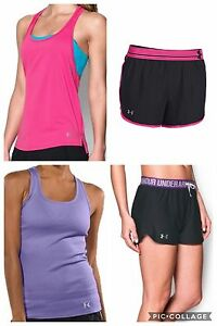 Lot of NWT Women's Under Armour Lot 4 Pc Set Outfit Tank Tops Shorts Large