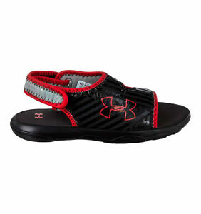 Under Armour Sandals for Boys Size 1Y Flash Black and Red Strap Brand New