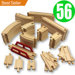 NEW 56 Wooden Train Track Pack Set. Wood Thomas Brio Chuggington Straight Curved