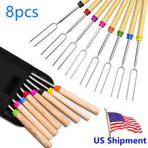 8pc BBQ Barbecue Forks Marshmallow Roasting Sticks Telescoping Smores Skewers