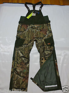 UNDER ARMOUR Cold Gear Mossy Oak Break-up HUNT Camo Shell BIBS PANTS _ XL loose
