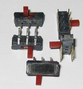 5 X DPDT Miniature Right Angle Slide Switch 6 Pin PC Board Mount Red Slide $7.50