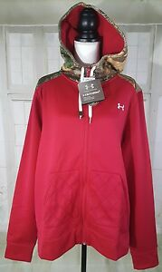 Under Armour Womens Storm 1 Caliber Full Zip Hoody Camo Red Fucsia Sz 2XL NWT$85