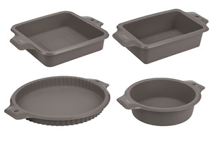 4-Piece Set Silicone Bakeware Molds - Nonstick Baking Supplies Set with R... NEW