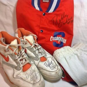 Billy Owens Nike basketball shoes warm up jacket and shorts autographed