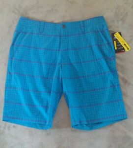 Under Armour Mens Golf Shorts Plaid NWT NEW Blue purple 36 38