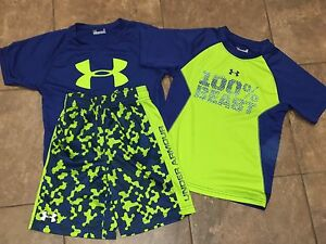 Lot Boys Kids Under Armour Blue Lime Shorts Shirts Summer Outfit Size 5-6 EUC