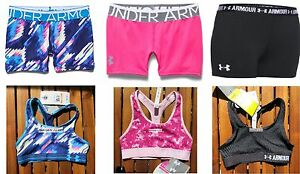 UNDER ARMOUR 6pc GIRLS FITTED SHORTS ~ SMALL ~ SPORTS BRAS ~ NWT gymnastics $140