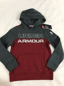 Under Armour Boy's Cold Gear Sweatshirt Hoodie Gray Red Size Youth Small 78 NEW