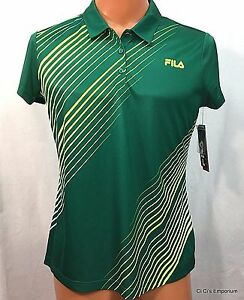 Fila Sport Golf Fitted Polo Shirt Womens Large Green Tru Dry Wicking S Sleeves