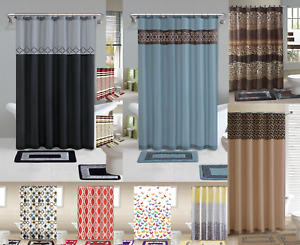 COMPLETE SET SHOWER CURTAIN W/HOOKS + BATHROOM MAT RUG NEW DESIGNS 15PC GRP 2