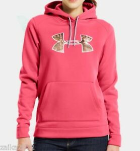 Under Armour Womens Hoodie Cold Gear Storm Tackle Big Logo Camo M NWT $65 Pink