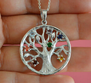 925 Sterling Silver Big Round Chakra Tree of Life Pendant Necklace *NEW*