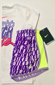 Nike Girl's Tempo Size Dry-Fit Gym Shorts NWT 261611-001 purple Sz 6X