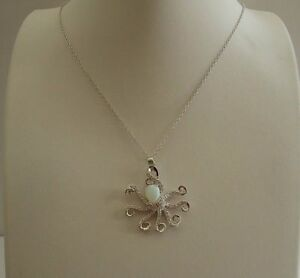 925 STERLING SILVER OCTOPUS NECKLACE PENDANT W OPAL & ACCENTS 18 INCH