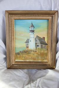 PAINTING OF A LIGHTHOUSE SIGNED HERTZ $35.00