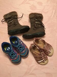 Lot Of Infant Baby Girl Shoes Size 6 Sneakers Boots Sandals Under Armour Bass