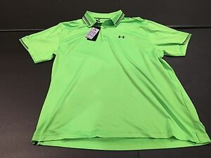 NWT Under Armour UA Golf Polo Men's Coldblack Upf 50+ Green Loose Small NEW