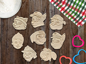 Set of 8 Paw Patrol Dog Heads Cookie Cutter Logo Cupcake Topper Fondant Biscuit