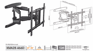 x2  Full-motion TV Wall Mounts For most 37