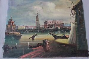 Vintage Antique Signed Venetian Hand Painted Scenic Oil Painting* $145.00