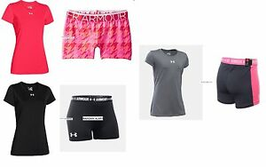 UNDER ARMOUR LARGE FITTED SHORTS ~ TOPS ~ 6pc ~ PINK BLACK SHORTY SHORTS $180