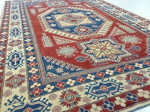 8' x 13' Red Ivory Fine Kazak Geometric Oriental Area Rug Hand Knotted Wool