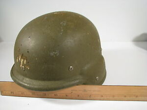 U.S. Army Military Kevlar PASGT Helmet S-4 Sioux MFG Woodland Camo Cover Size M
