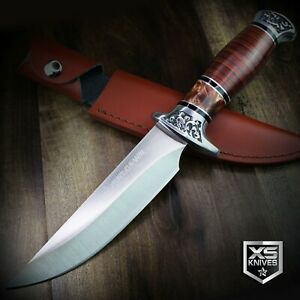 12quot; COMBAT Hunt Down Fixed Blade BOWIE Knife w WOOD Handle Hunting SURVIVAL