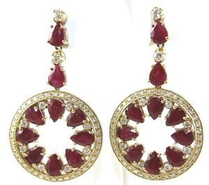 Round Pear Cut Red Ruby & Diamond Drop Cocktail Earrings 14K Yellow Gold 23.51Ct