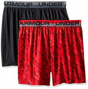 Under Armour Boys Original Series Boxer Shorts 2-Pack BlackRed Youth Medium