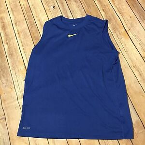 Boys Youth Nike DriFit Sleeveless Shirt XL Blue w Neon Green Swoosh #473883-411