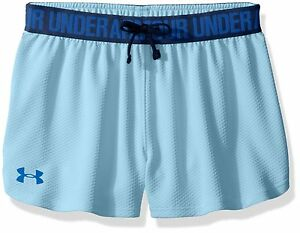 Under Armour Girls Play Up Mesh Shorts Opal BlueBlue Lotus Youth Medium