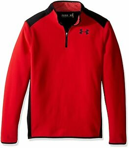 Under Armour Boys ColdGear Infrared Fleece 14 Zip RedBlack Youth X-Large
