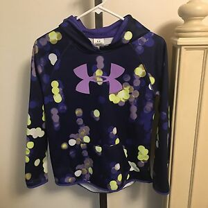 Under Armour Girls Hoodie Green Purple Long Sleeve Comfy Size YLG Youth Large