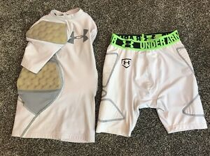 74 Under Armour Boys Youth YSM Medium Padded Fitted Compression Shirt Shorts Set