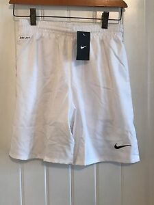 Nike Boys Dri Fit Basketball Athletic Running Mesh Lined Shorts White Large