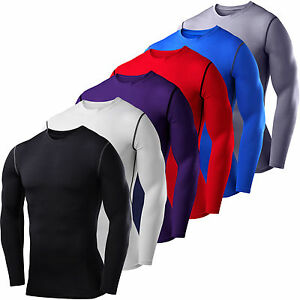 Mens Compression Base Layer Top Thermal Long Sleeve Under Shirt Body Armour Tee