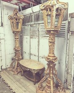 Stunning Rare Carved Wood French Gilt Gold Lanterns Rocco Vintage