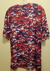 DIGITAL CAMO DRY FIT TYPE  RED SHORT SLEEVE SHIRT SZ L EXC CONDITION