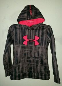 Super Nice UNDER ARMOUR Girls Sz M Pullover Hoodie wFront Pocket CharcoalNeon