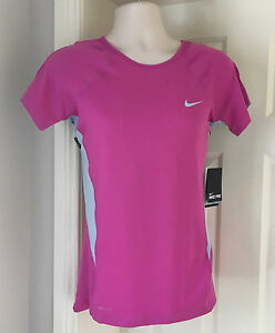 Nike Dri Fit Ladies Womens Large (Size 12-14) Pink Running Gym Top T-Shirt