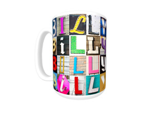 BILLY Coffee Mug Cup featuring the name in photos of sign letters $21.75