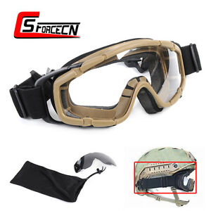 Army Tactical Military Ballistic Goggle Glasses for Helmet Side Rail Dark Earth