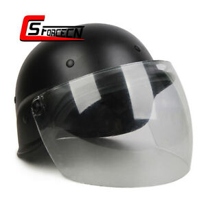 Airsoft Paintball PASGT Kelver M88 Helmet w Clear Visor Tactical Military Black