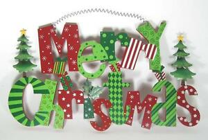Merry Christmas Wall Decor Wood Sign Red Green & White 20